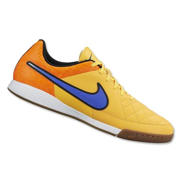 Tênis Nike Tiempo Genio Leather Futsal Amarelo e Laranja - Mundo do ... d8a803570a75c