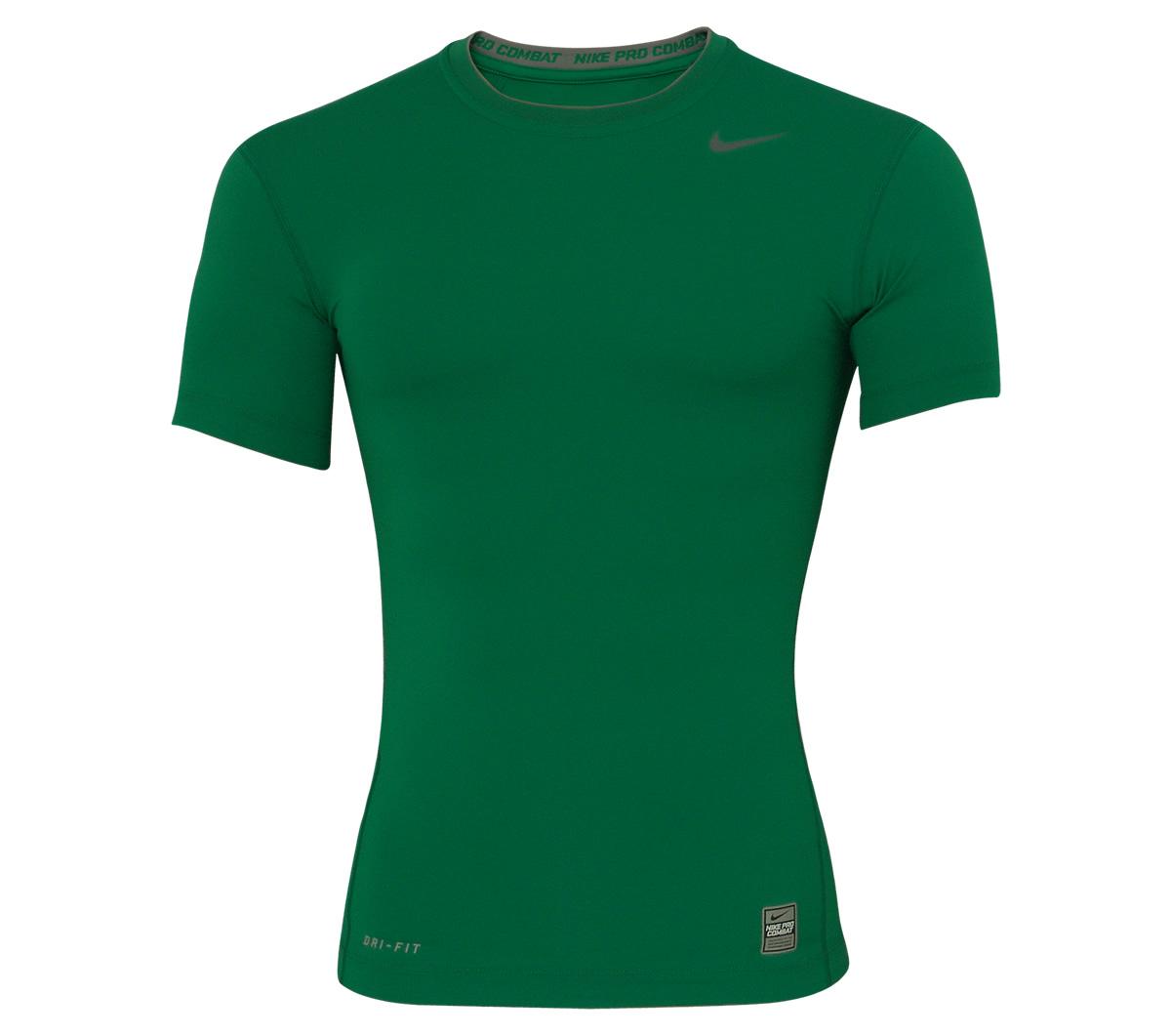 2cf1bb3b06775 Camisa Nike Pro Core Manga Curta Ajustado Verde - Mundo do Futebol