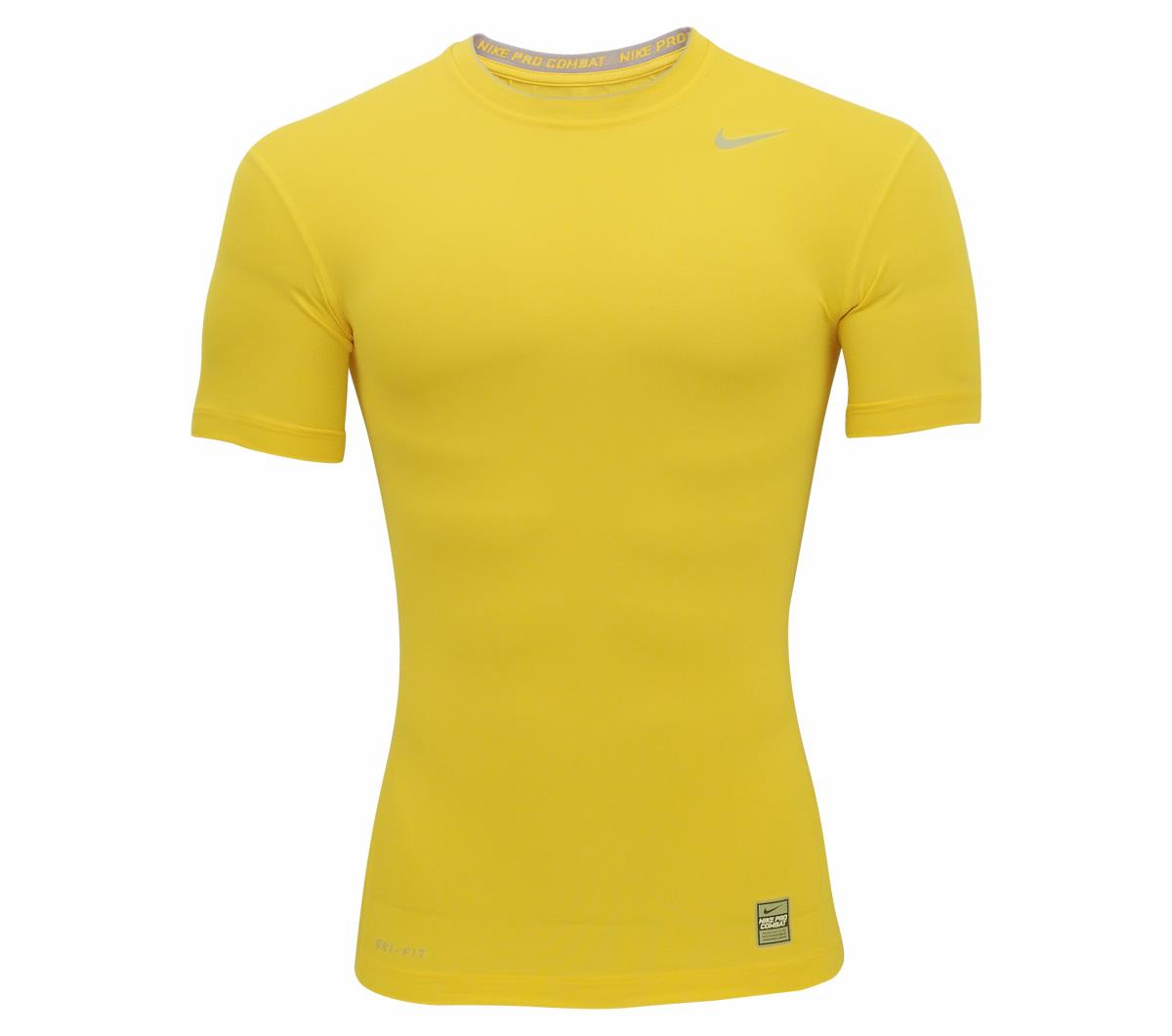 5b0d9281521f3 Camisa Nike Pro Core Manga Curta Ajustado Amarela - Mundo do Futebol