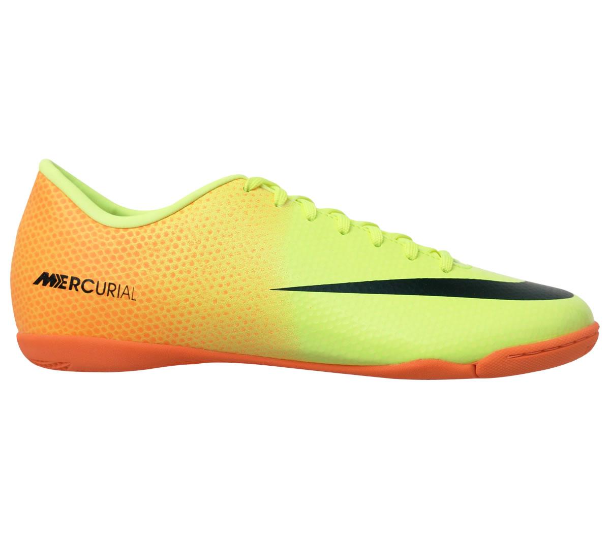 Tênis Nike Mercurial Victory IV Futsal Amarelo e Laranja - Mundo do ... 66653b6250318