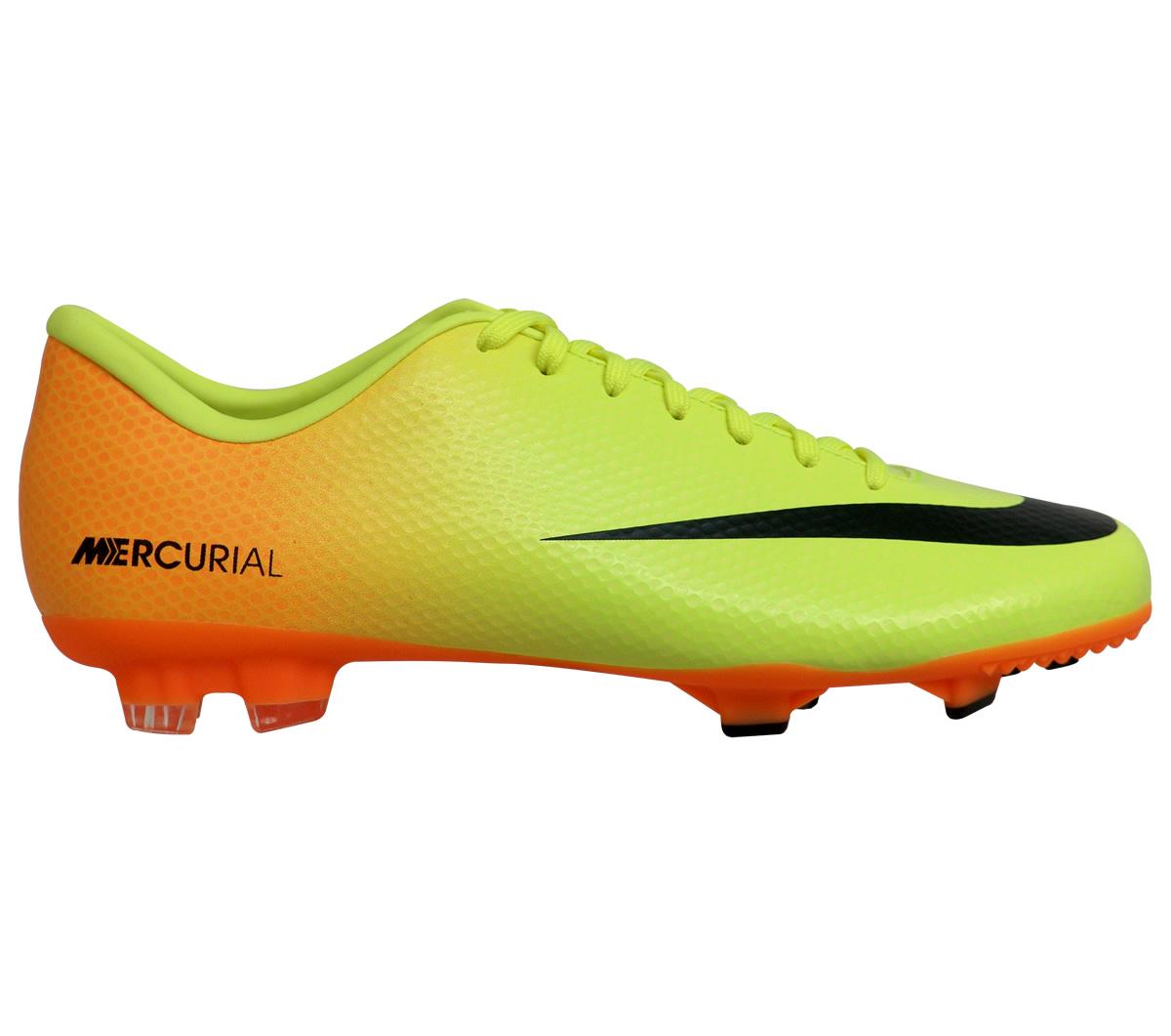 Chuteira Nike Mercurial Victory IV Campo Amarela e Laranja - Mundo ... f19d77016cbdf