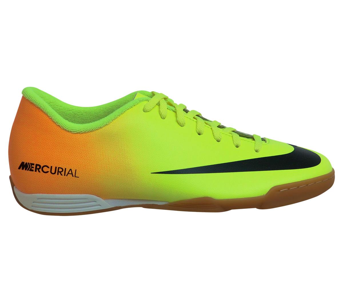7ffe23e567 Tenis Nike Mercurial Vortex Futsal Amarelo e Laranja - Mundo do Futebol