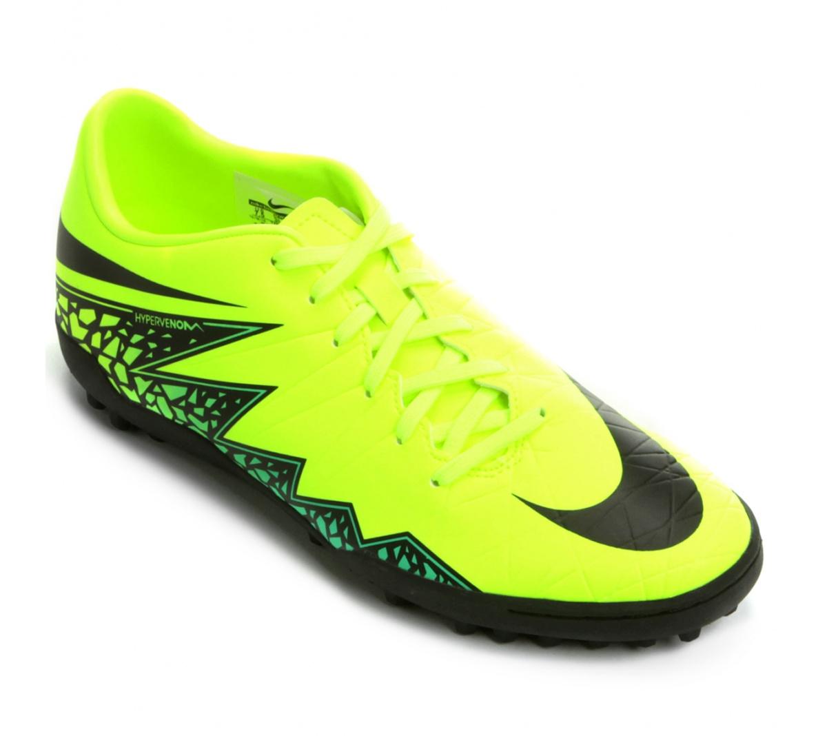 918f5d239 Chuteira Nike Hypervenom Phelon II TF Verde Limão com Preto - Mundo ...