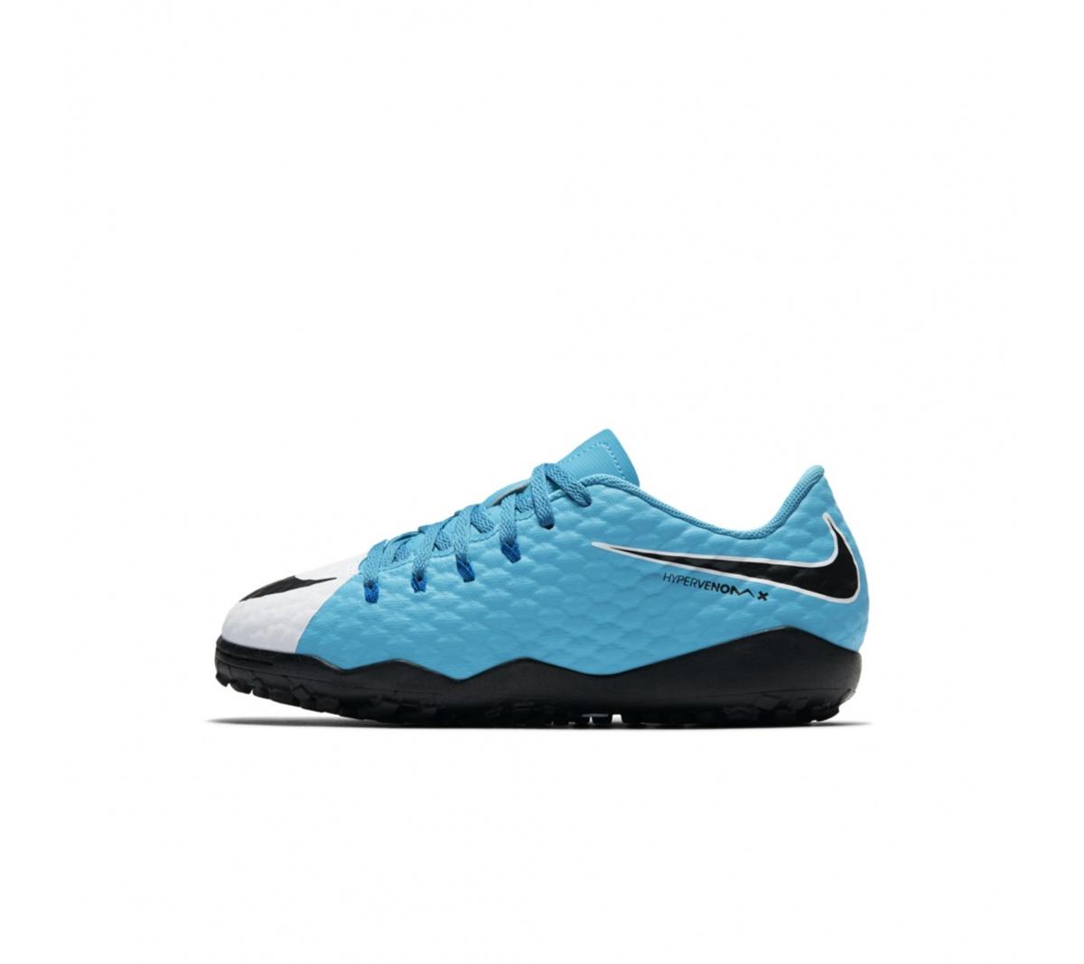 ... Chuteira Nike HypervenomX Phelon III TF Infantil Azul e Branco ... 91f6770490b8d