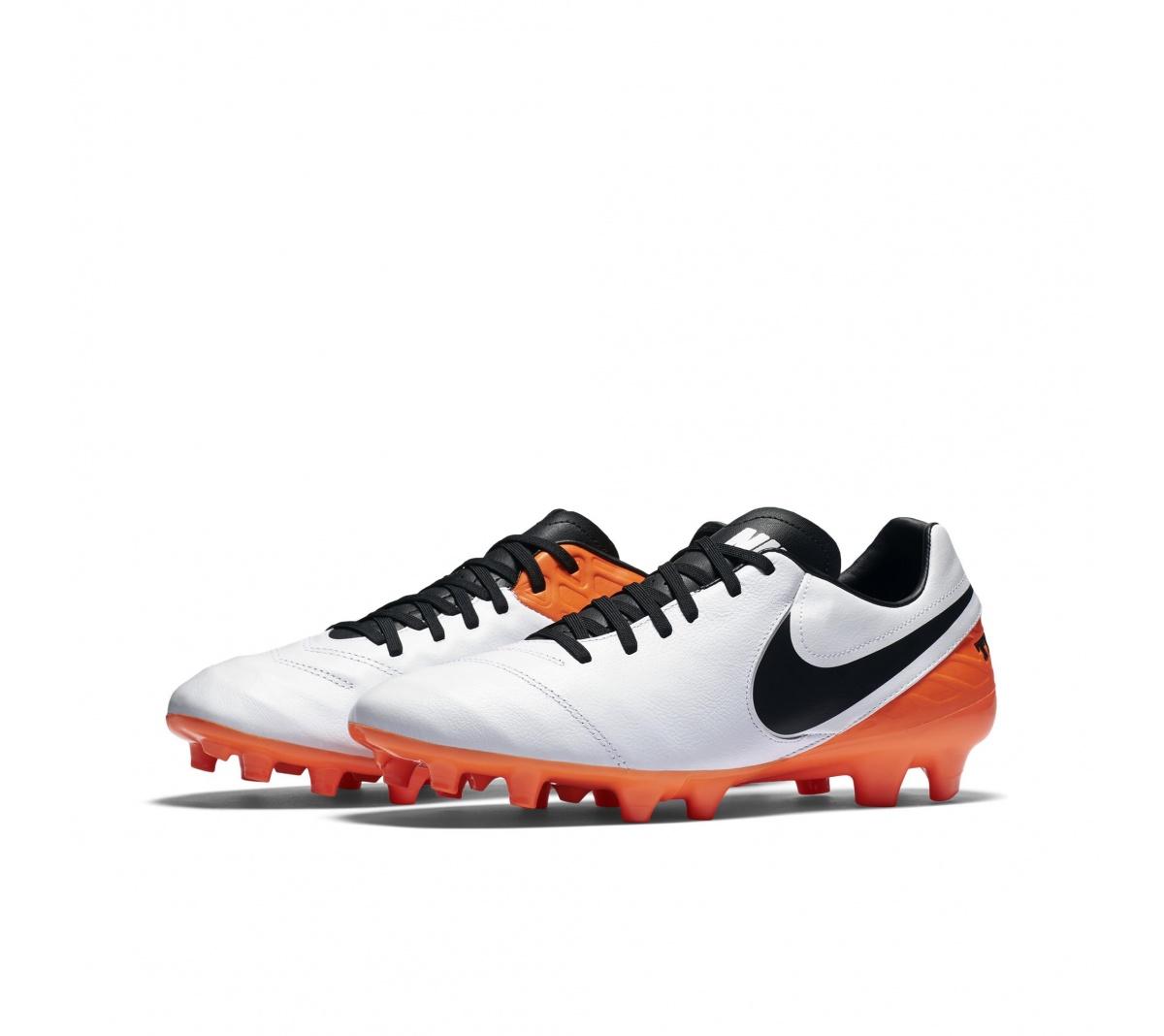 Chuteira Nike Tiempo Mystic FG Branco com Laranja - Mundo do Futebol f2ff3af604554