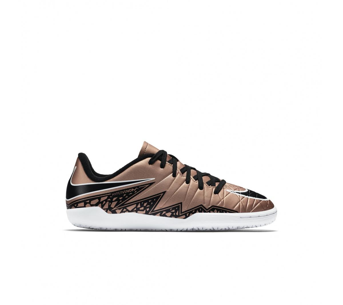 d346bd6ff3 ... Tênis Nike Hypervenom Phelon II IC Jr Dourado com Preto e Branco ...